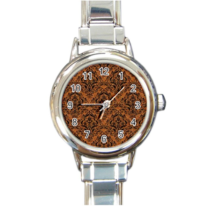 DAMASK1 BLACK MARBLE & RUSTED METAL Round Italian Charm Watch