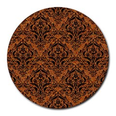 DAMASK1 BLACK MARBLE & RUSTED METAL Round Mousepads