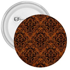 Damask1 Black Marble & Rusted Metal 3  Buttons by trendistuff