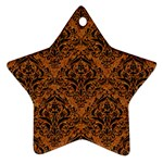 DAMASK1 BLACK MARBLE & RUSTED METAL Ornament (Star) Front