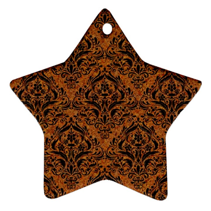 DAMASK1 BLACK MARBLE & RUSTED METAL Ornament (Star)