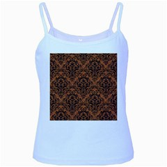 Damask1 Black Marble & Rusted Metal Baby Blue Spaghetti Tank