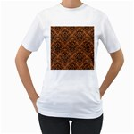 DAMASK1 BLACK MARBLE & RUSTED METAL Women s T-Shirt (White) (Two Sided) Front