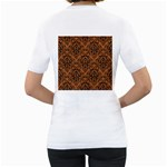 DAMASK1 BLACK MARBLE & RUSTED METAL Women s T-Shirt (White) (Two Sided) Back