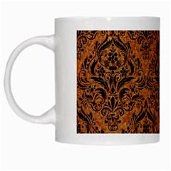 Damask1 Black Marble & Rusted Metal White Mugs by trendistuff
