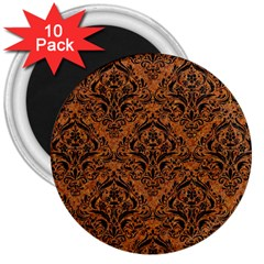 Damask1 Black Marble & Rusted Metal 3  Magnets (10 Pack)  by trendistuff