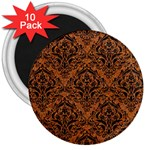 DAMASK1 BLACK MARBLE & RUSTED METAL 3  Magnets (10 pack)  Front