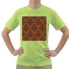 DAMASK1 BLACK MARBLE & RUSTED METAL Green T-Shirt