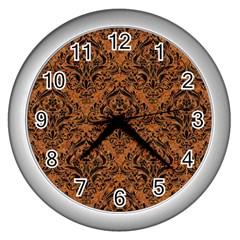 DAMASK1 BLACK MARBLE & RUSTED METAL Wall Clocks (Silver)