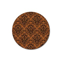 Damask1 Black Marble & Rusted Metal Magnet 3  (round) by trendistuff