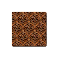 Damask1 Black Marble & Rusted Metal Square Magnet