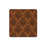 DAMASK1 BLACK MARBLE & RUSTED METAL Square Magnet Front