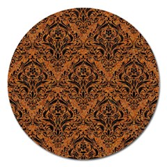 Damask1 Black Marble & Rusted Metal Magnet 5  (round)