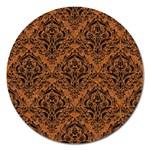 DAMASK1 BLACK MARBLE & RUSTED METAL Magnet 5  (Round) Front