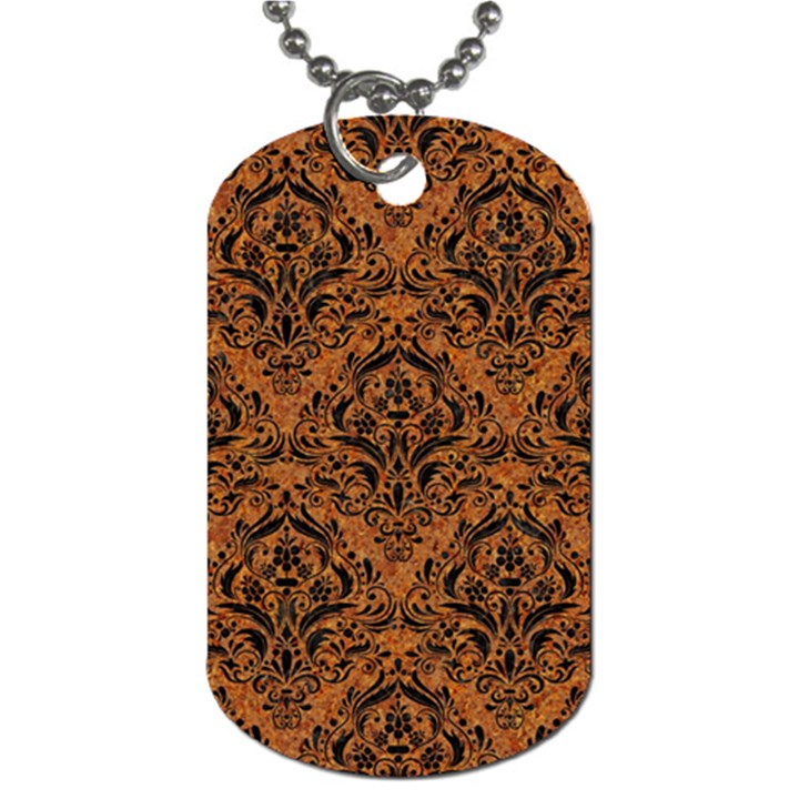DAMASK1 BLACK MARBLE & RUSTED METAL Dog Tag (One Side)