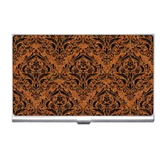 DAMASK1 BLACK MARBLE & RUSTED METAL Business Card Holders