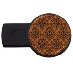 DAMASK1 BLACK MARBLE & RUSTED METAL USB Flash Drive Round (2 GB) Front