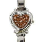 DAMASK1 BLACK MARBLE & RUSTED METAL Heart Italian Charm Watch Front