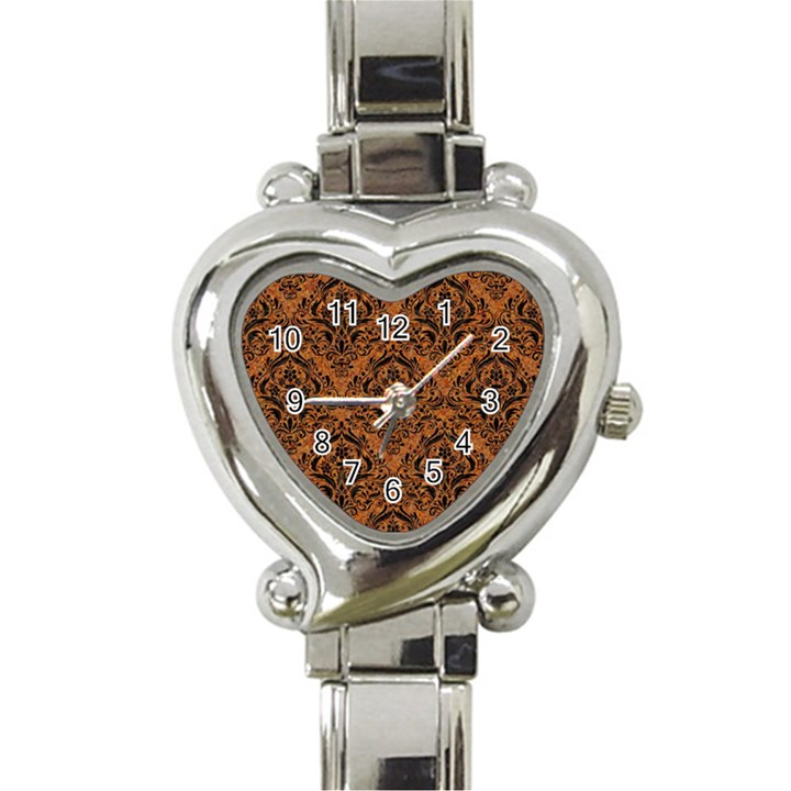 DAMASK1 BLACK MARBLE & RUSTED METAL Heart Italian Charm Watch