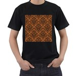 DAMASK1 BLACK MARBLE & RUSTED METAL Men s T-Shirt (Black) (Two Sided) Front