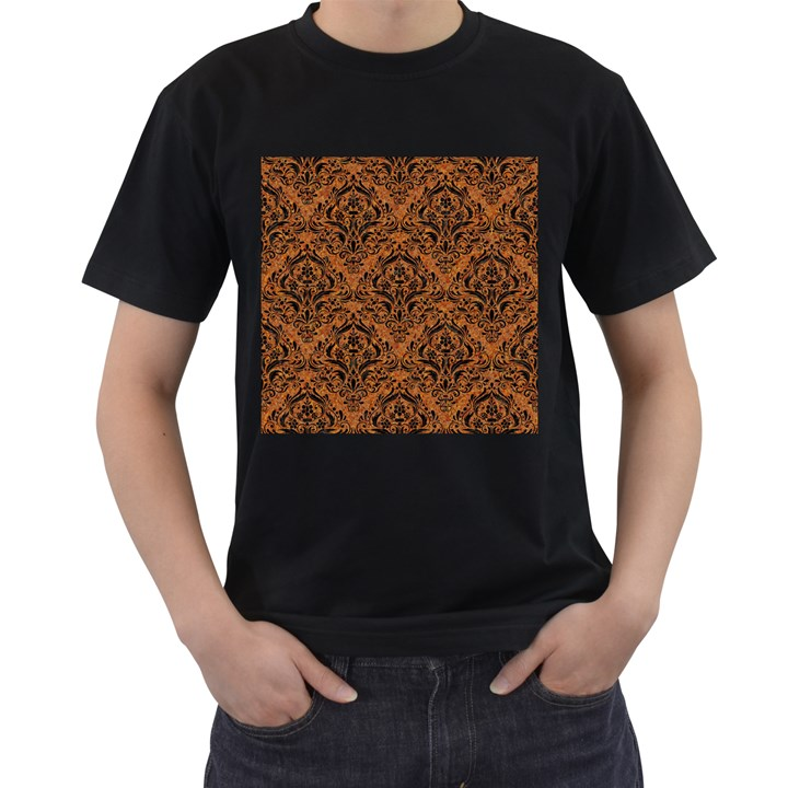 DAMASK1 BLACK MARBLE & RUSTED METAL Men s T-Shirt (Black) (Two Sided)
