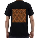 DAMASK1 BLACK MARBLE & RUSTED METAL Men s T-Shirt (Black) (Two Sided) Back