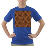 DAMASK1 BLACK MARBLE & RUSTED METAL Dark T-Shirt Front