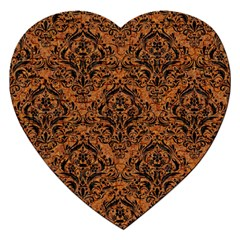DAMASK1 BLACK MARBLE & RUSTED METAL Jigsaw Puzzle (Heart)