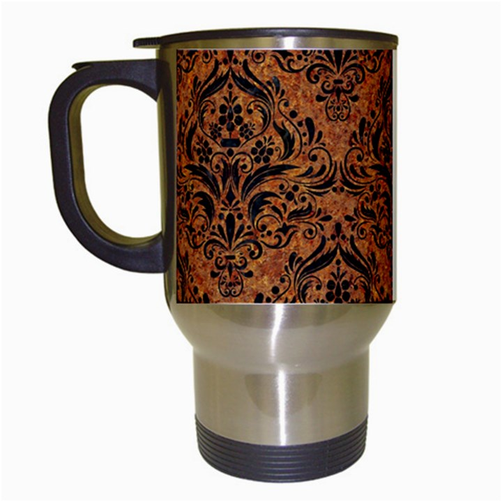 DAMASK1 BLACK MARBLE & RUSTED METAL Travel Mugs (White)