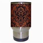 DAMASK1 BLACK MARBLE & RUSTED METAL Travel Mugs (White) Center