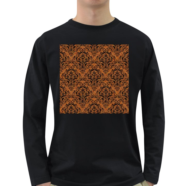 DAMASK1 BLACK MARBLE & RUSTED METAL Long Sleeve Dark T-Shirts