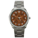 DAMASK1 BLACK MARBLE & RUSTED METAL Sport Metal Watch Front