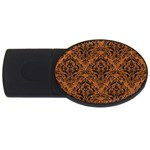 DAMASK1 BLACK MARBLE & RUSTED METAL USB Flash Drive Oval (4 GB) Front