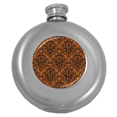 Damask1 Black Marble & Rusted Metal Round Hip Flask (5 Oz) by trendistuff