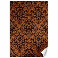 DAMASK1 BLACK MARBLE & RUSTED METAL Canvas 12  x 18