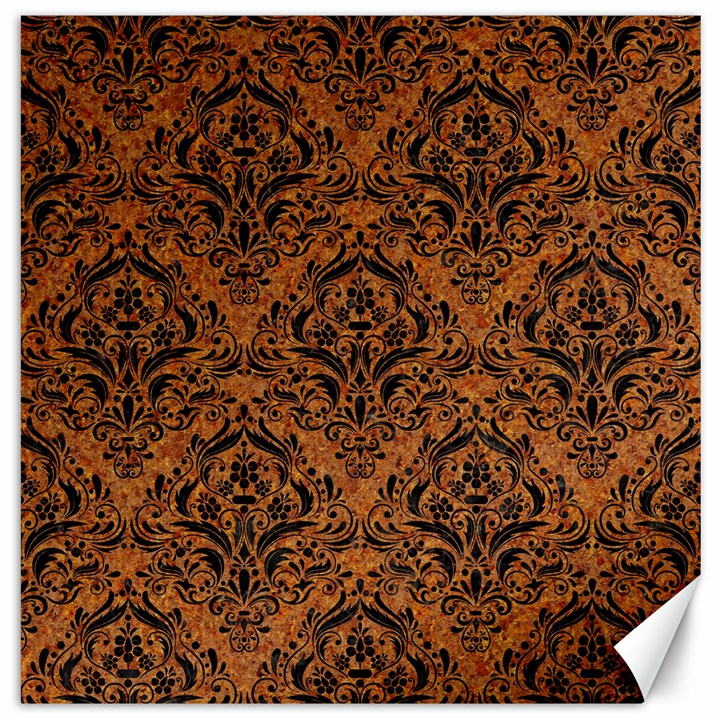 DAMASK1 BLACK MARBLE & RUSTED METAL Canvas 16  x 16