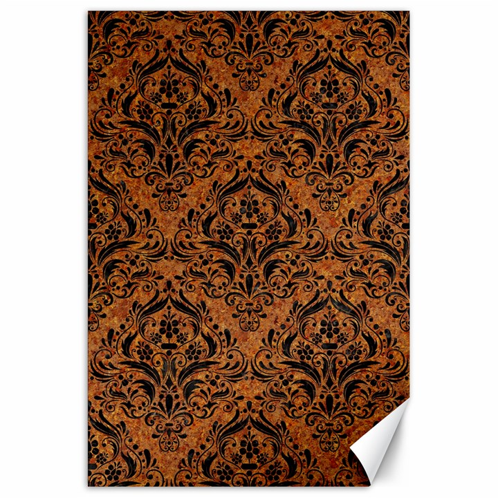 DAMASK1 BLACK MARBLE & RUSTED METAL Canvas 20  x 30