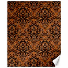 Damask1 Black Marble & Rusted Metal Canvas 11  X 14