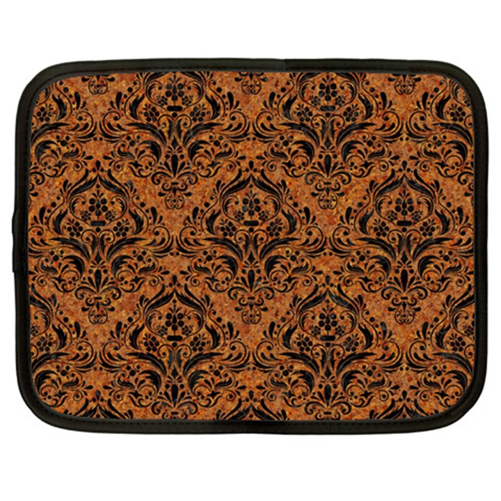 DAMASK1 BLACK MARBLE & RUSTED METAL Netbook Case (XXL)