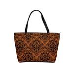 DAMASK1 BLACK MARBLE & RUSTED METAL Shoulder Handbags Front
