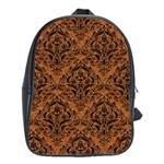 DAMASK1 BLACK MARBLE & RUSTED METAL School Bag (Large) Front