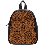 DAMASK1 BLACK MARBLE & RUSTED METAL School Bag (Small) Front