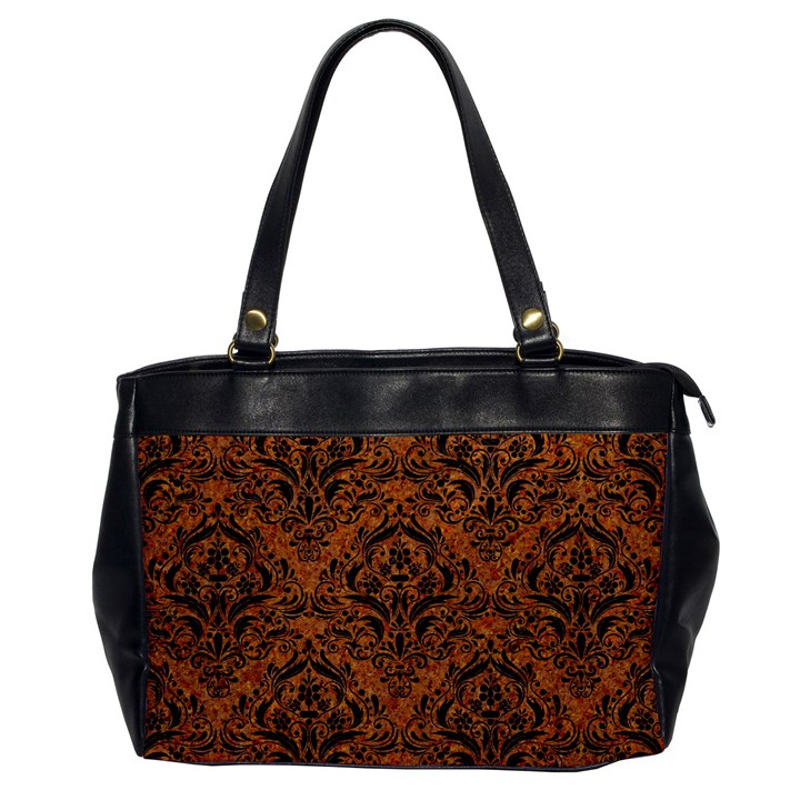DAMASK1 BLACK MARBLE & RUSTED METAL Office Handbags