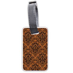 Damask1 Black Marble & Rusted Metal Luggage Tags (one Side)