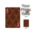 DAMASK1 BLACK MARBLE & RUSTED METAL Playing Cards 54 (Mini)  Front - Heart9