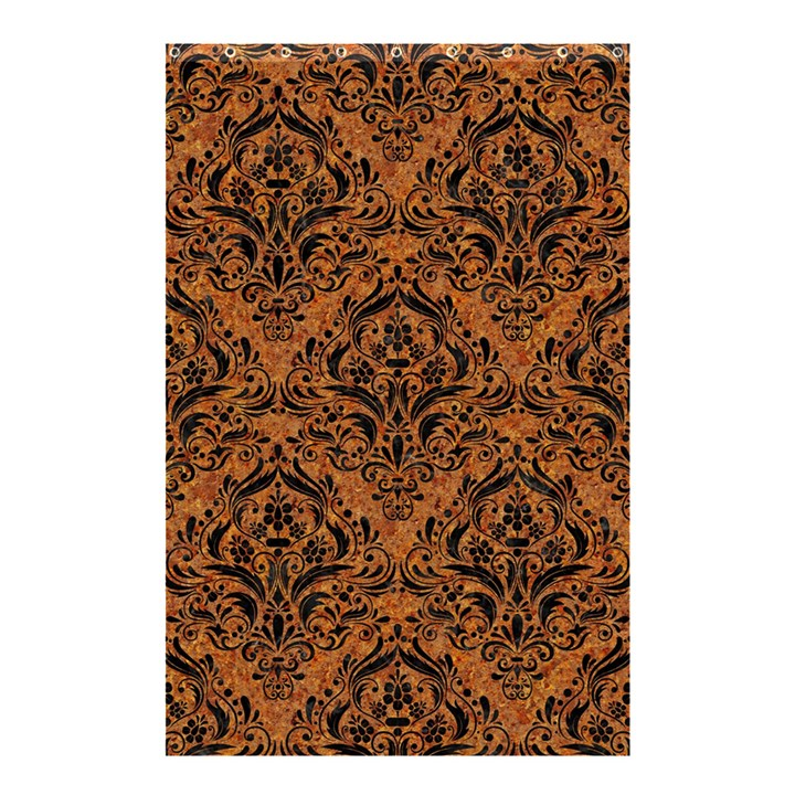 DAMASK1 BLACK MARBLE & RUSTED METAL Shower Curtain 48  x 72  (Small)