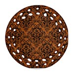 DAMASK1 BLACK MARBLE & RUSTED METAL Ornament (Round Filigree) Front