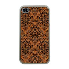 Damask1 Black Marble & Rusted Metal Apple Iphone 4 Case (clear)