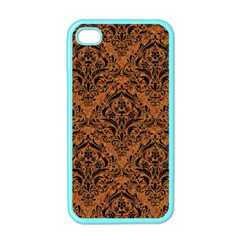 Damask1 Black Marble & Rusted Metal Apple Iphone 4 Case (color) by trendistuff