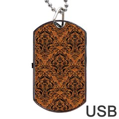 DAMASK1 BLACK MARBLE & RUSTED METAL Dog Tag USB Flash (Two Sides)